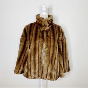 ZARA faux mink fur cropped coat